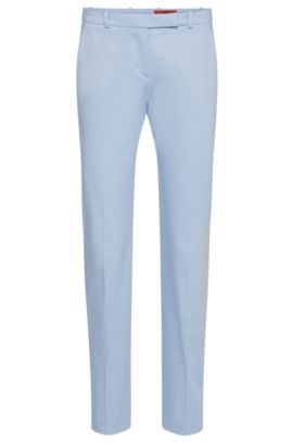 Slim-fit trousers in stretch cotton: 'Harile-3', Light Blue