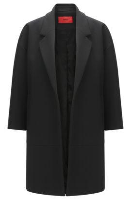 Cappotto 'Melami' in materiali misti, Nero
