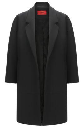 Mantel 'Melami' van een materiaalmix, Zwart