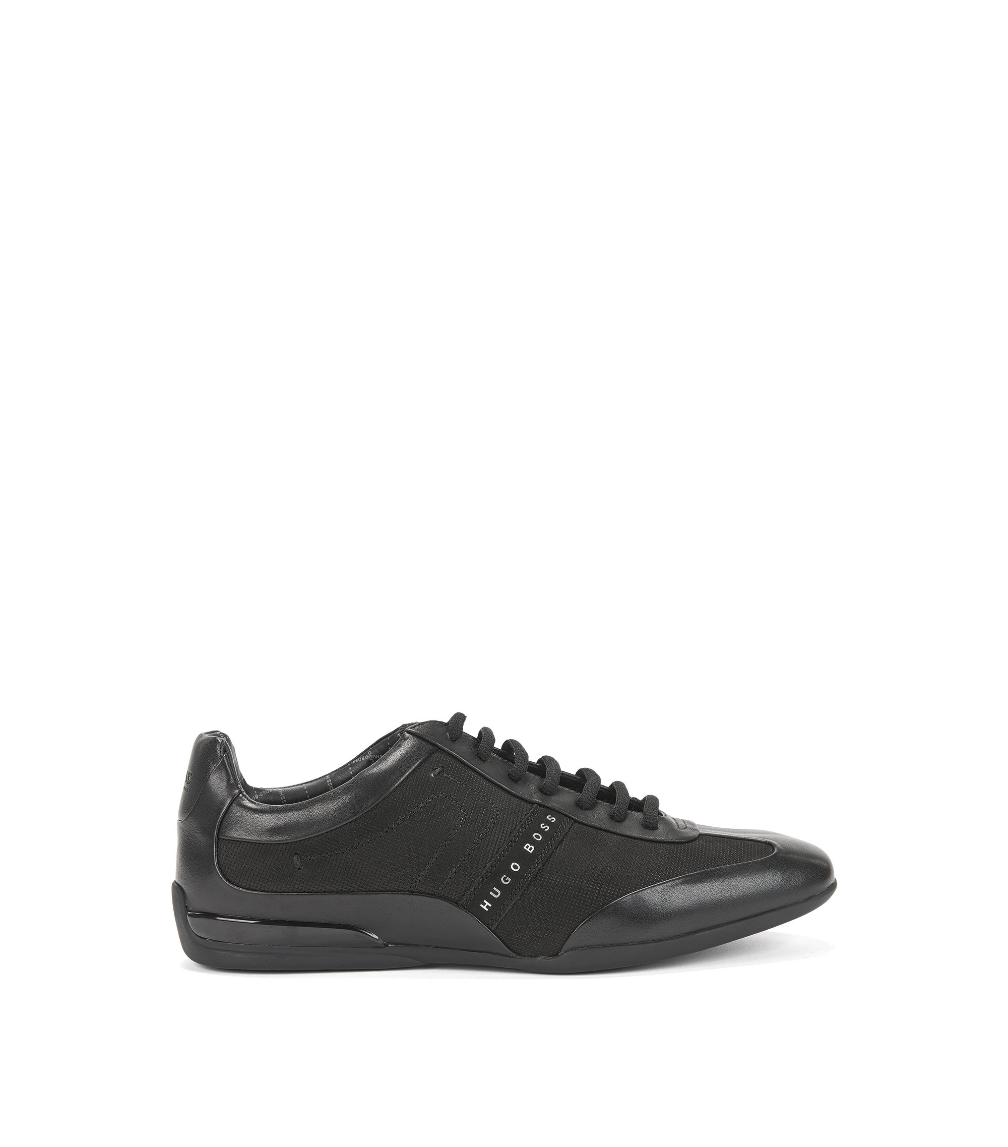 Low-top trainers in mixed leathers, Black
