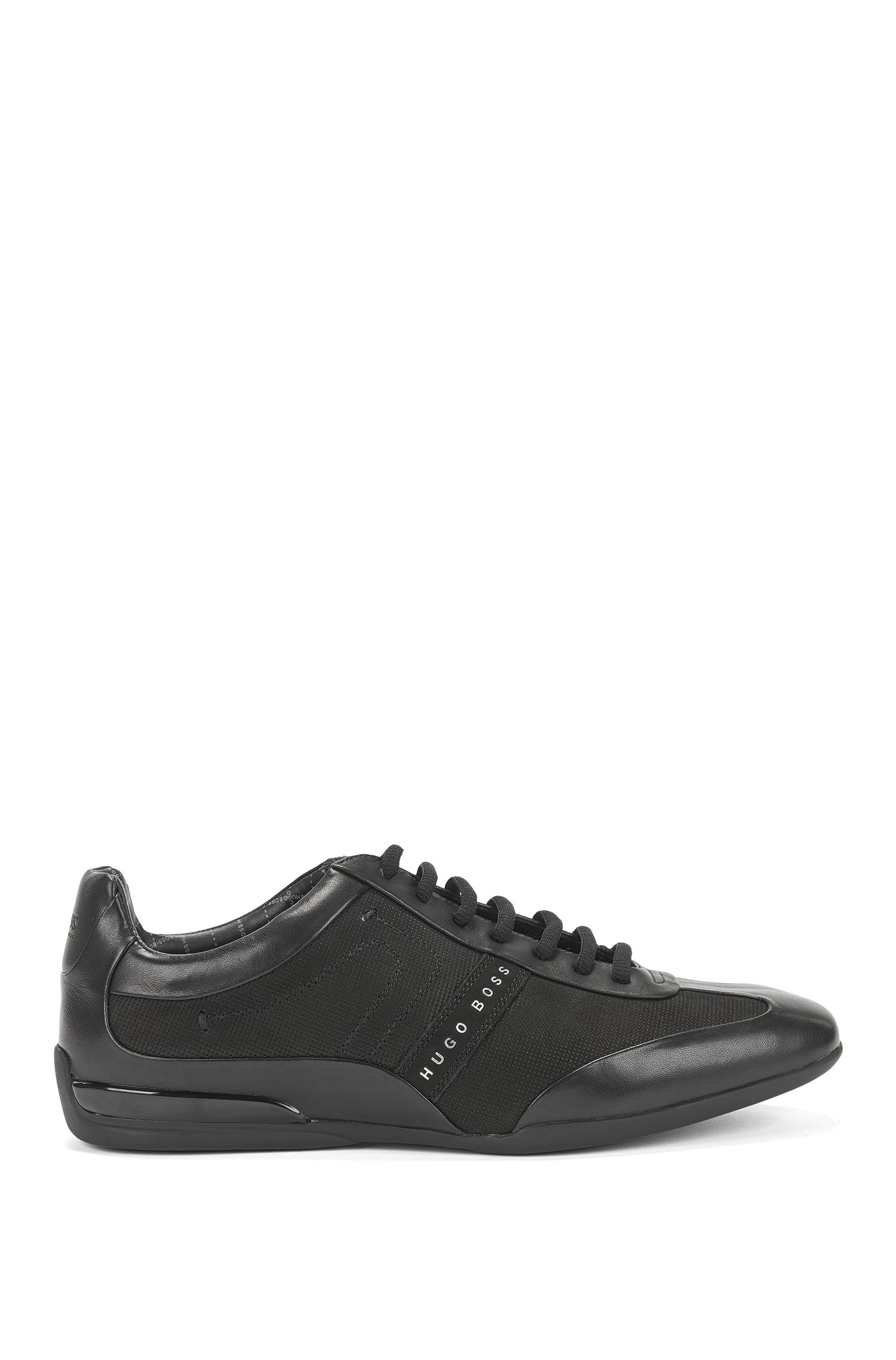 Low-top trainers in mixed leathers