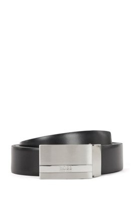 Reversible leather belt with plaque buckle, Black