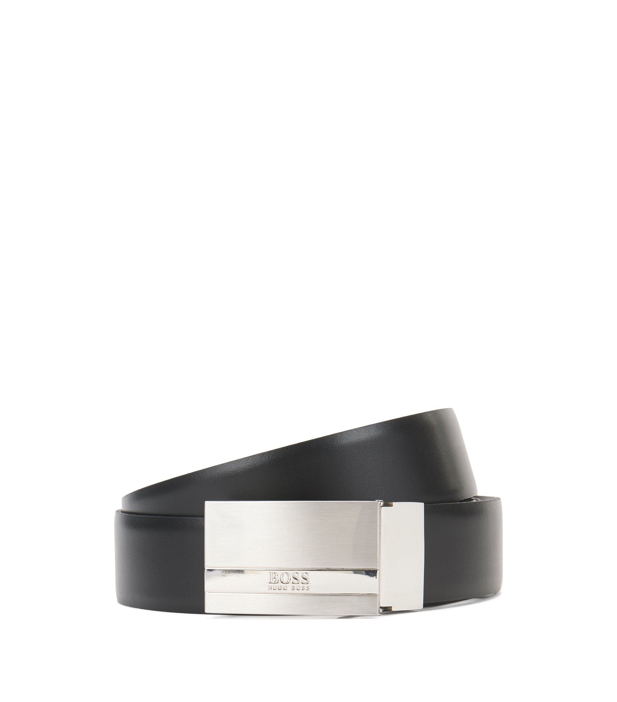 Reversible leather belt with plaque buckle , Black