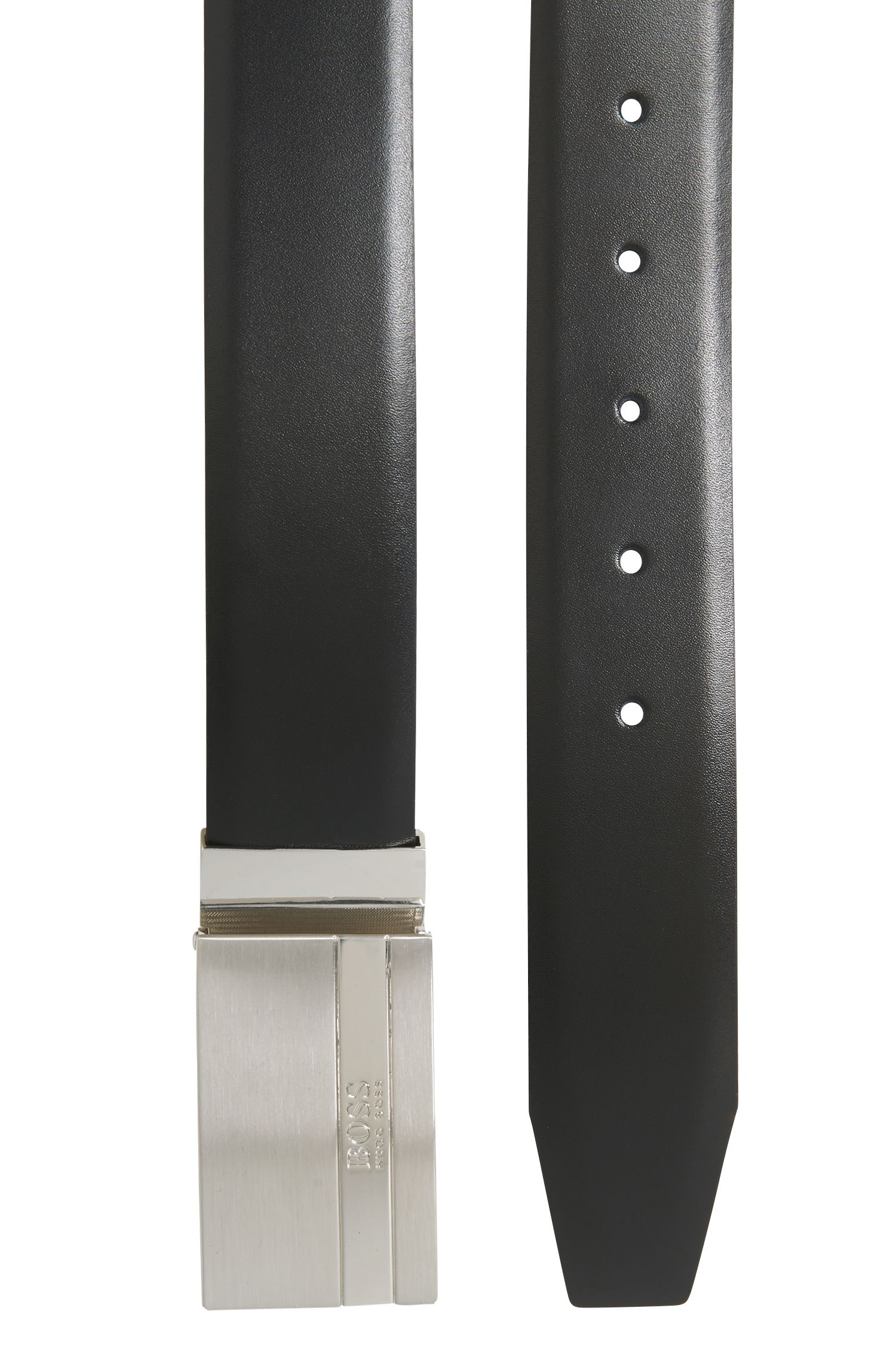 Reversible leather belt with plaque buckle