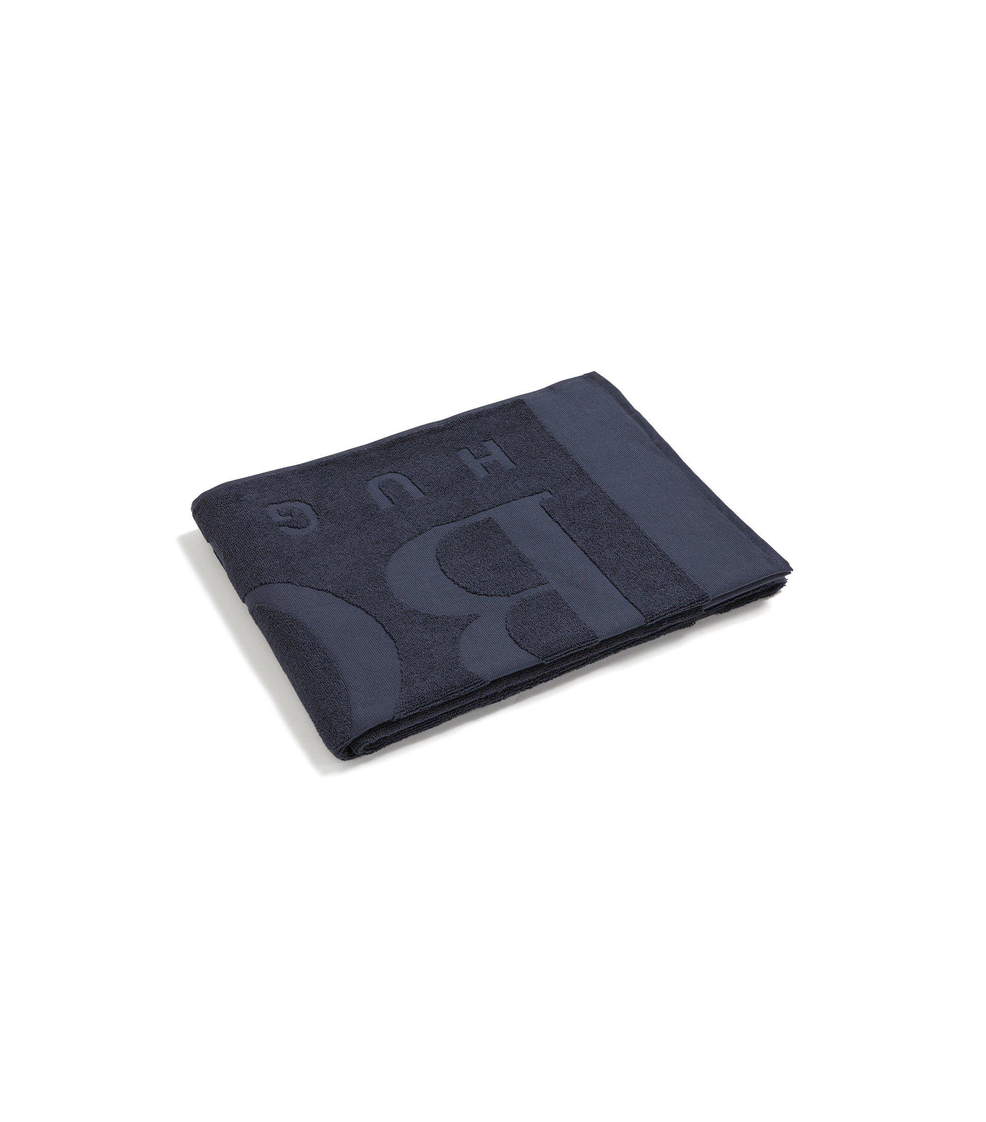 Logo beach towel in soft cotton jacquard, Dark Grey