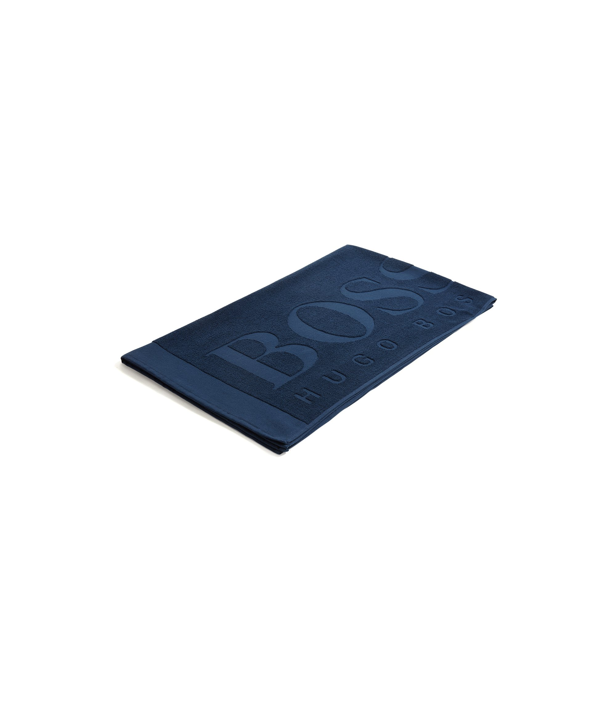 Logo beach towel in soft cotton jacquard, Dark Blue