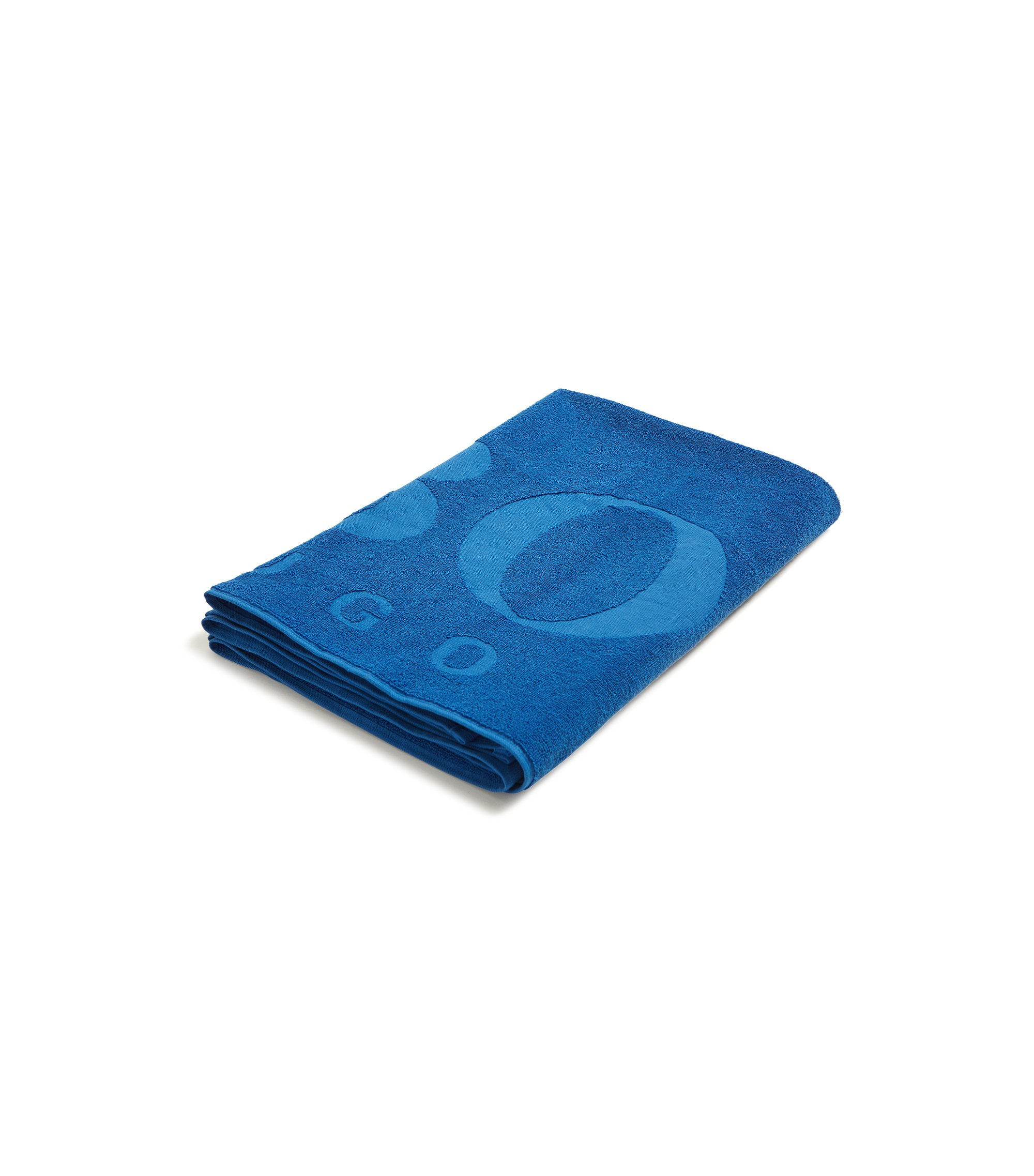Logo beach towel in soft cotton jacquard, Blue
