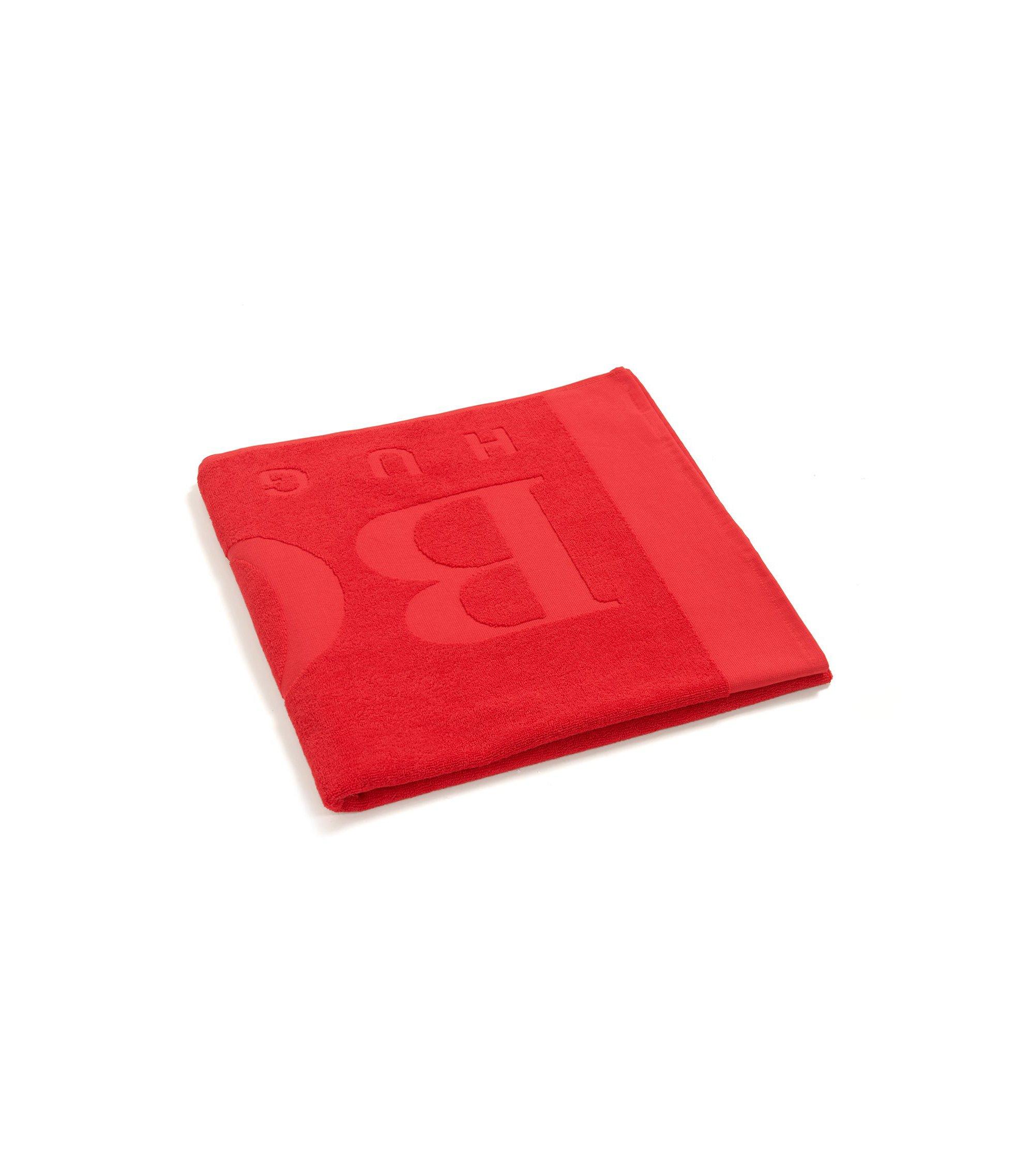 Serviette de plage à logo en jacquard de coton doux, Rouge
