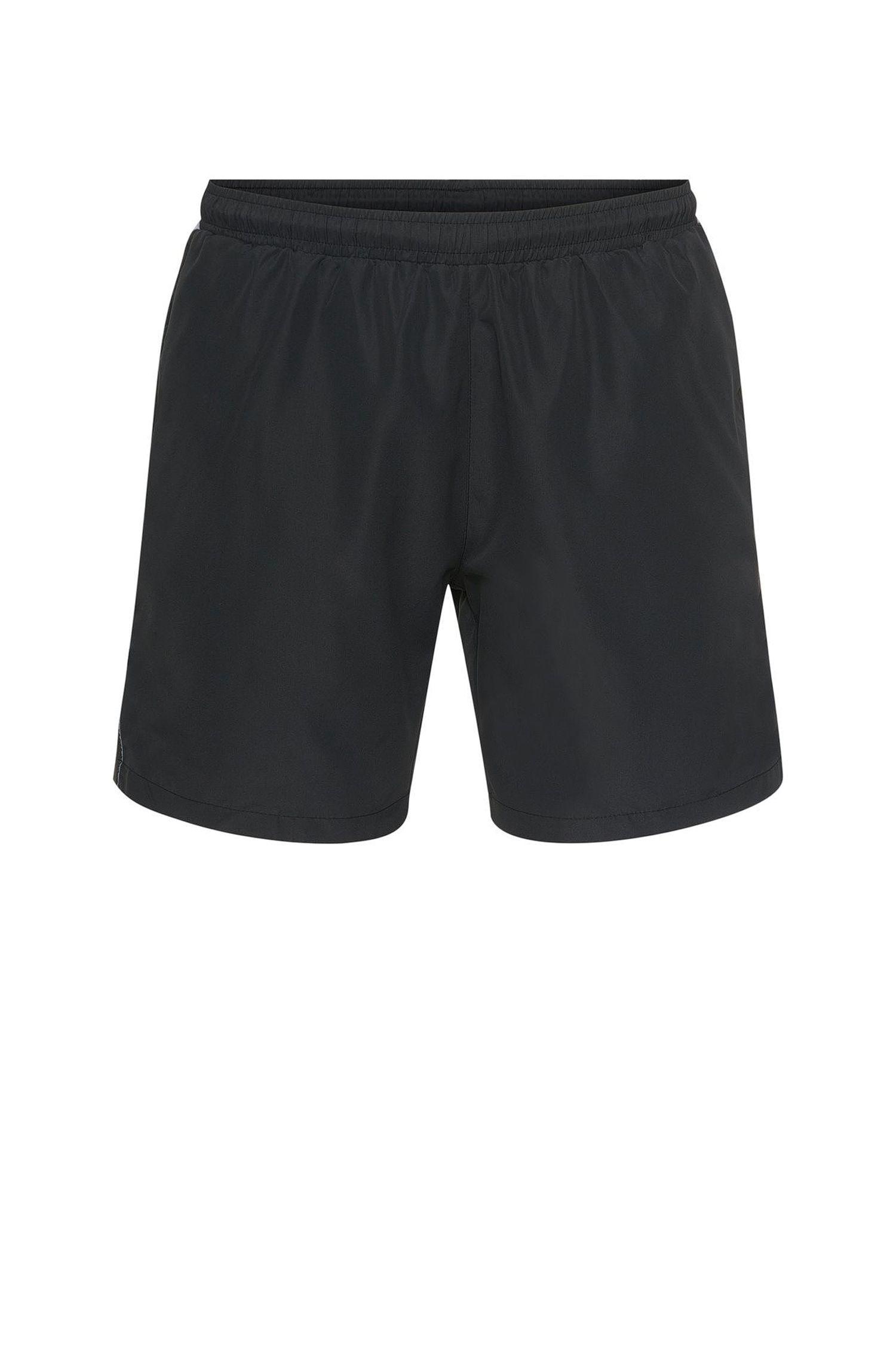 Longer-length swim shorts in technical fabric , Black