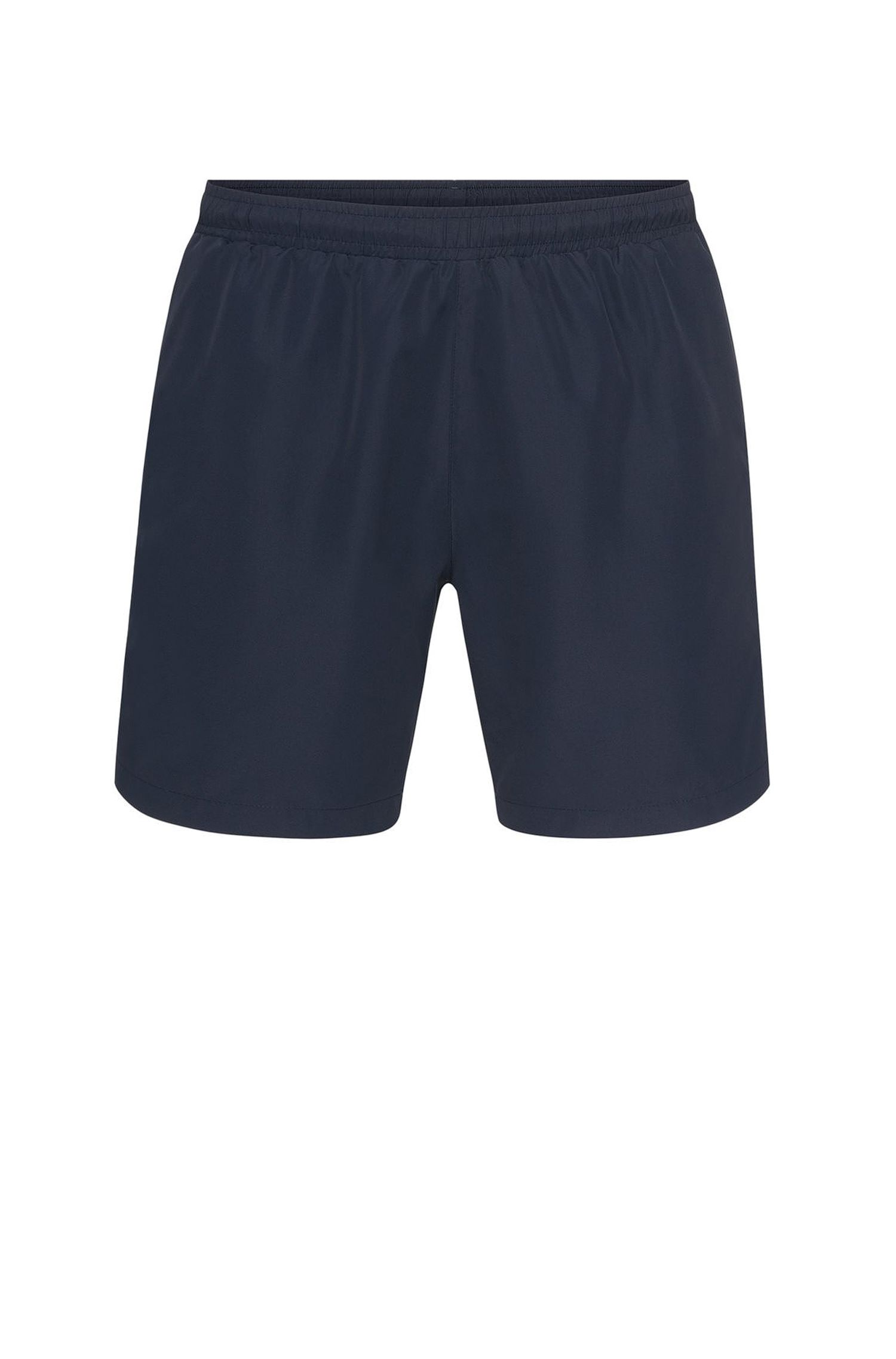 Longer-length swim shorts in technical fabric , Dark Blue
