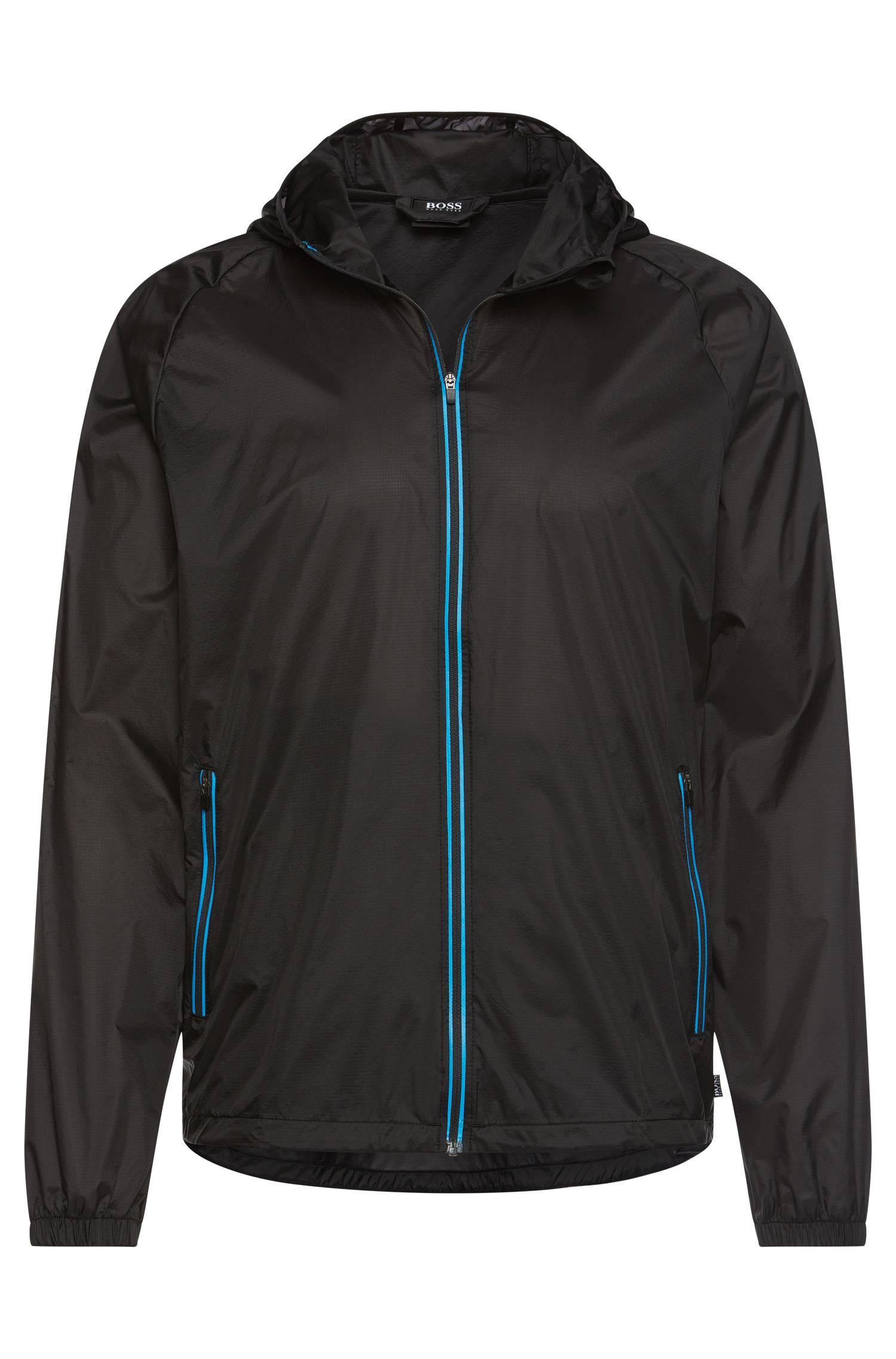 Lightweight hooded beach jacket in material blend `Beach Jacket Zip`