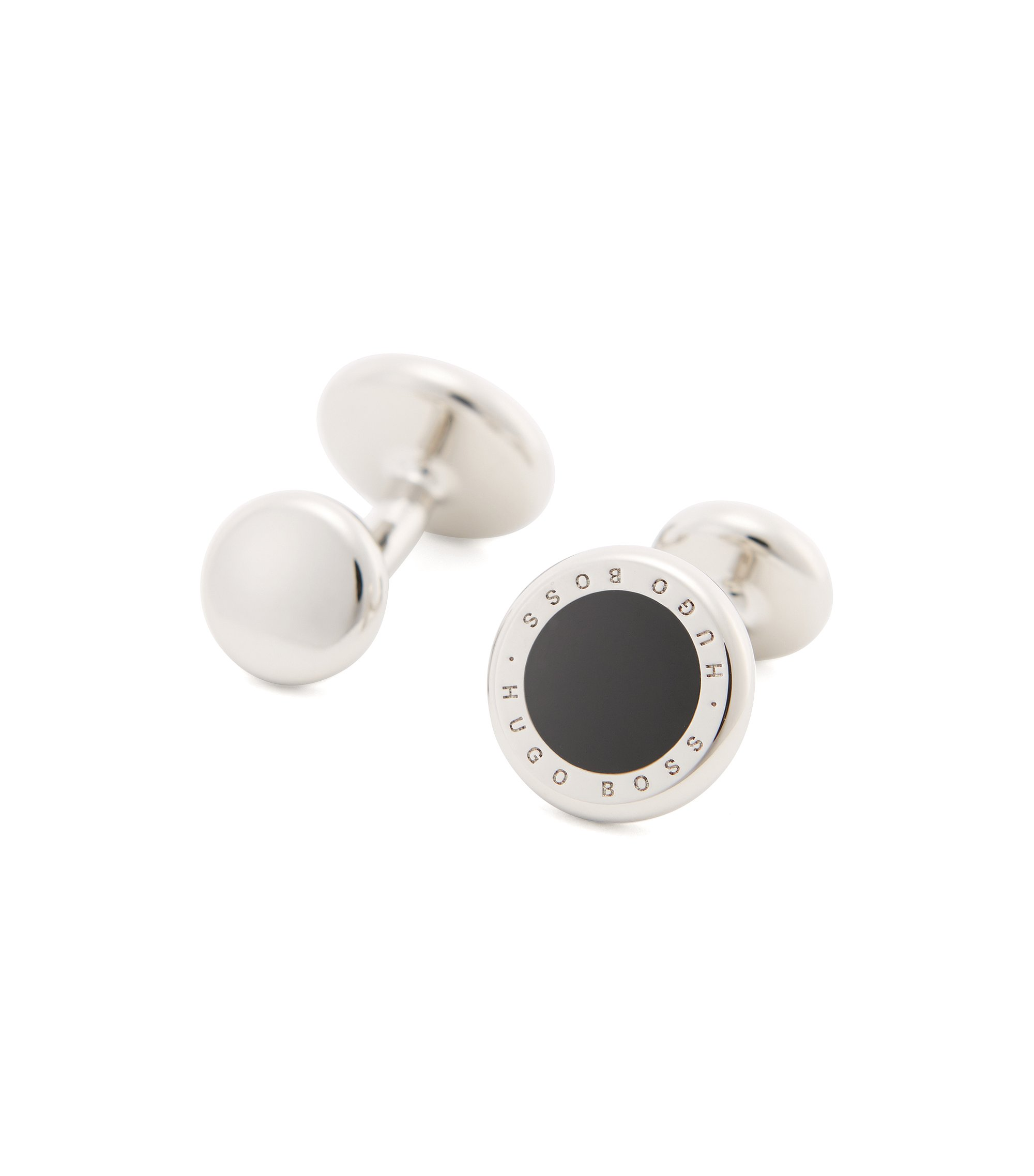 Round metal cufflinks with enamel inlay , Black