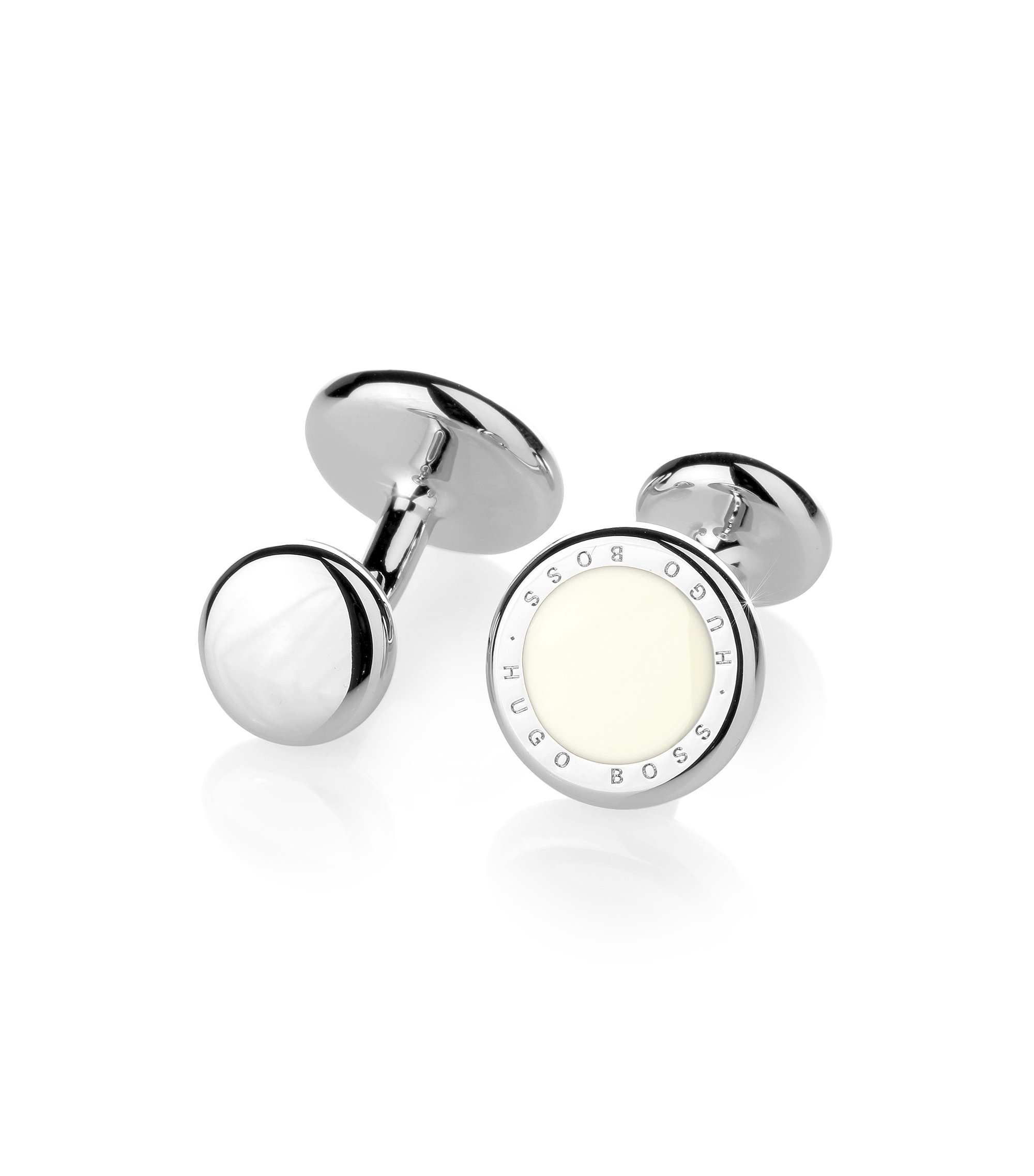 Round metal cufflinks with enamel inlay , White