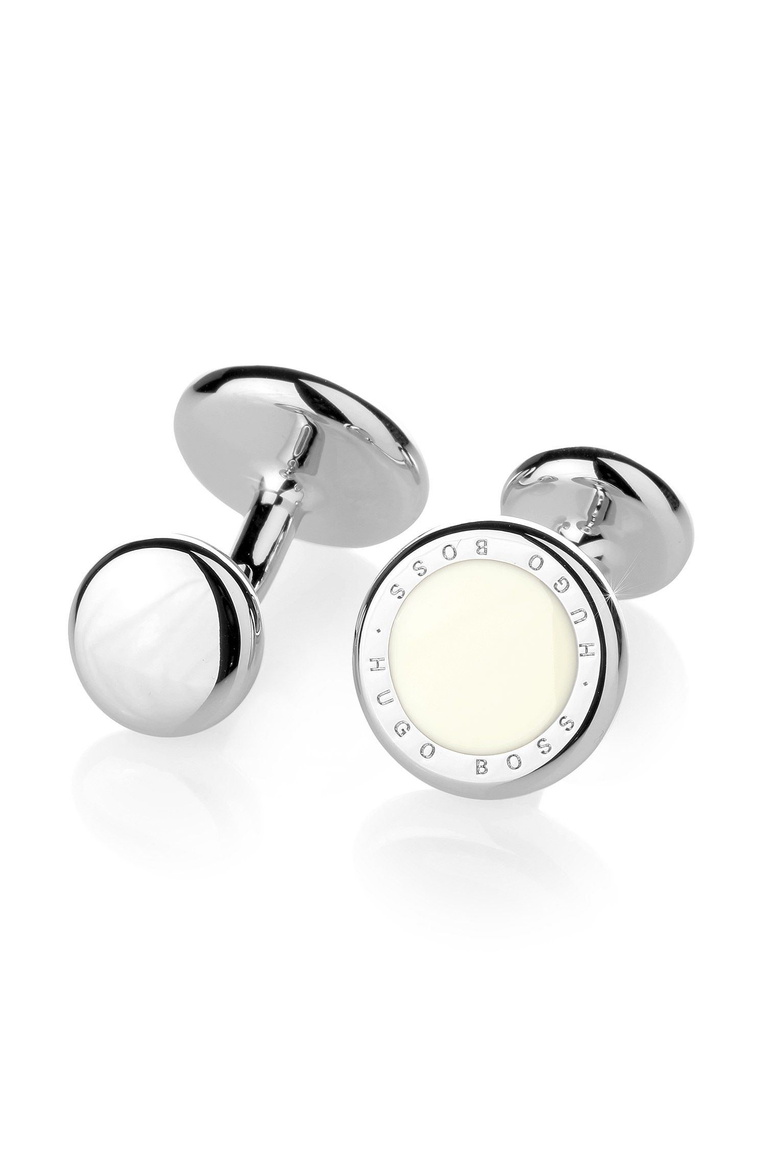 Round metal cufflinks with enamel inlay