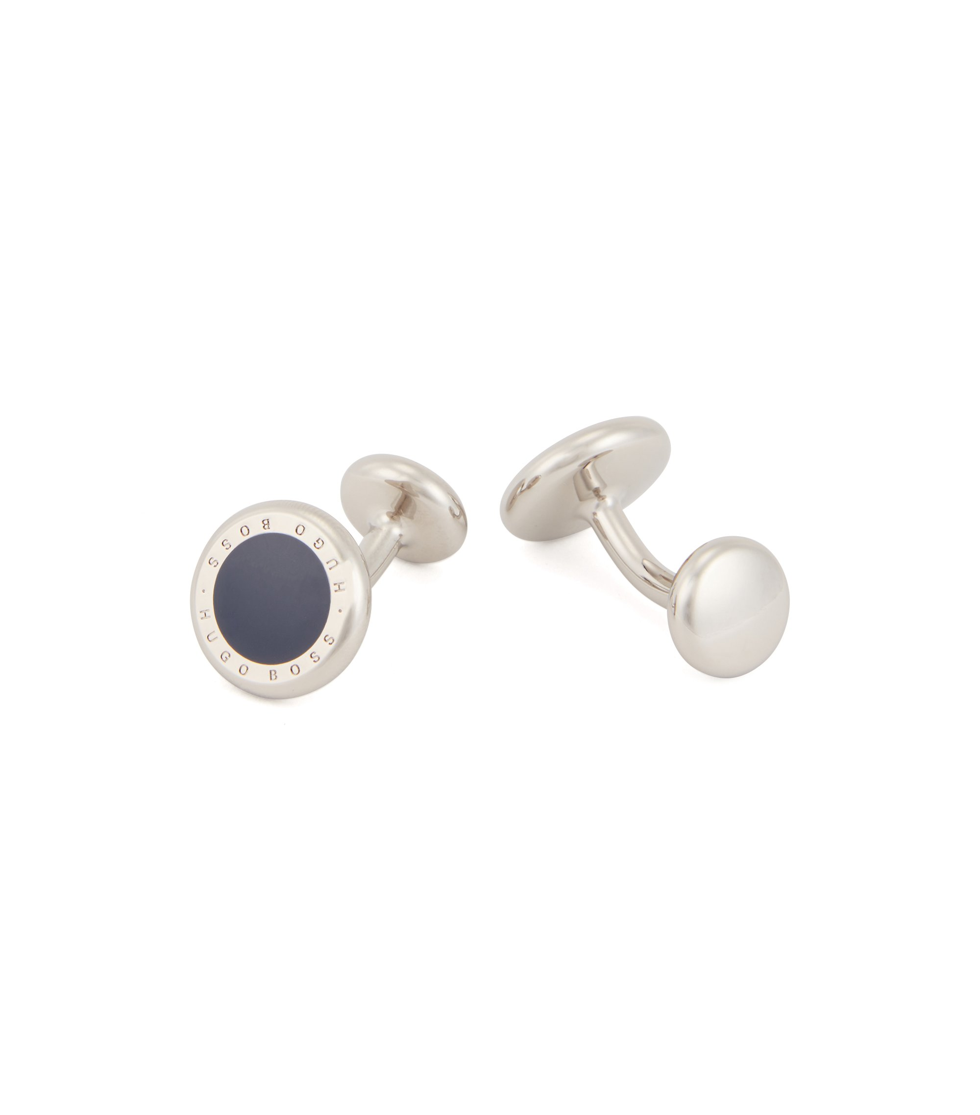 Round metal cufflinks with enamel inlay , Dark Blue