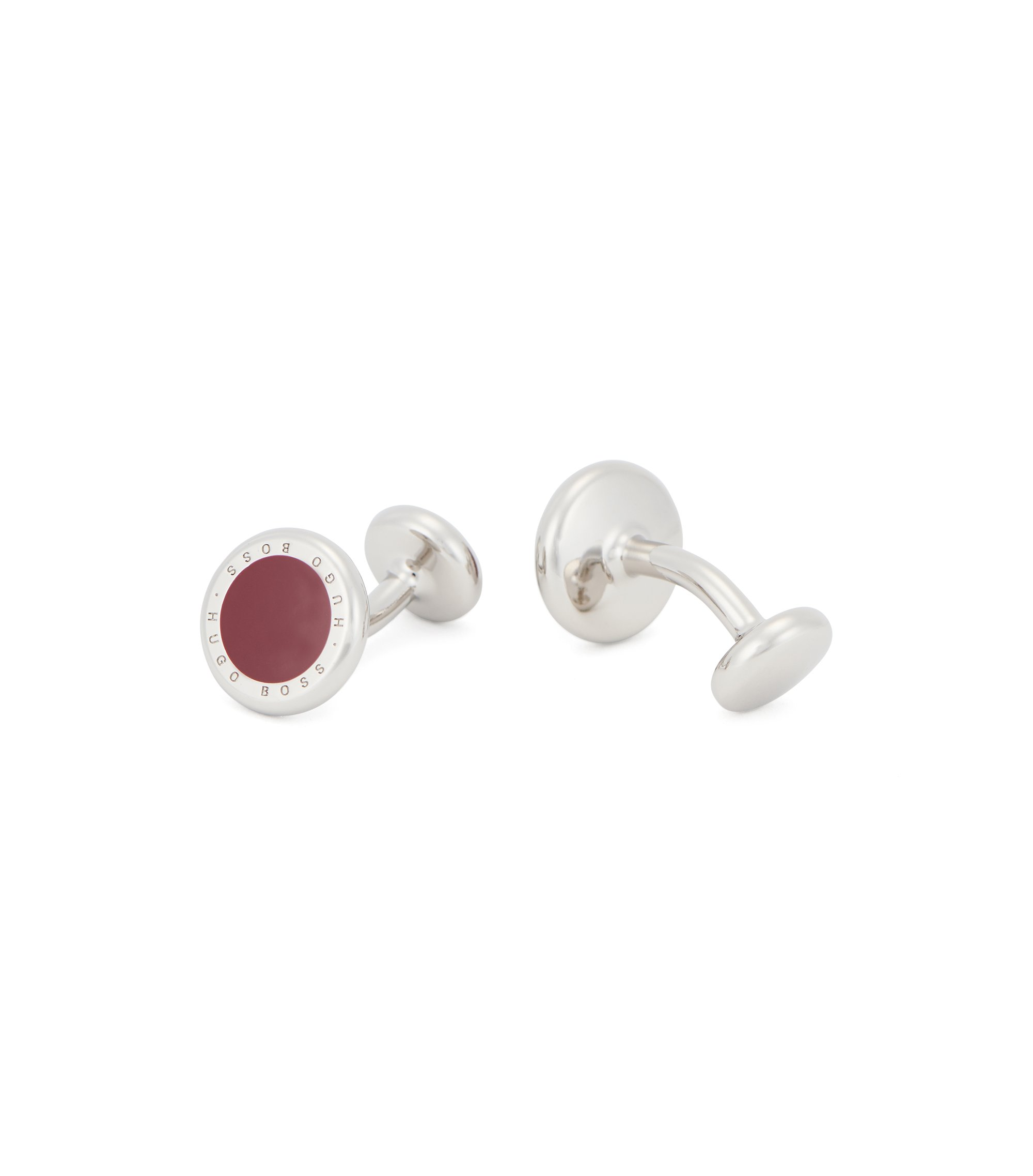Round metal cufflinks with enamel inlay , Red