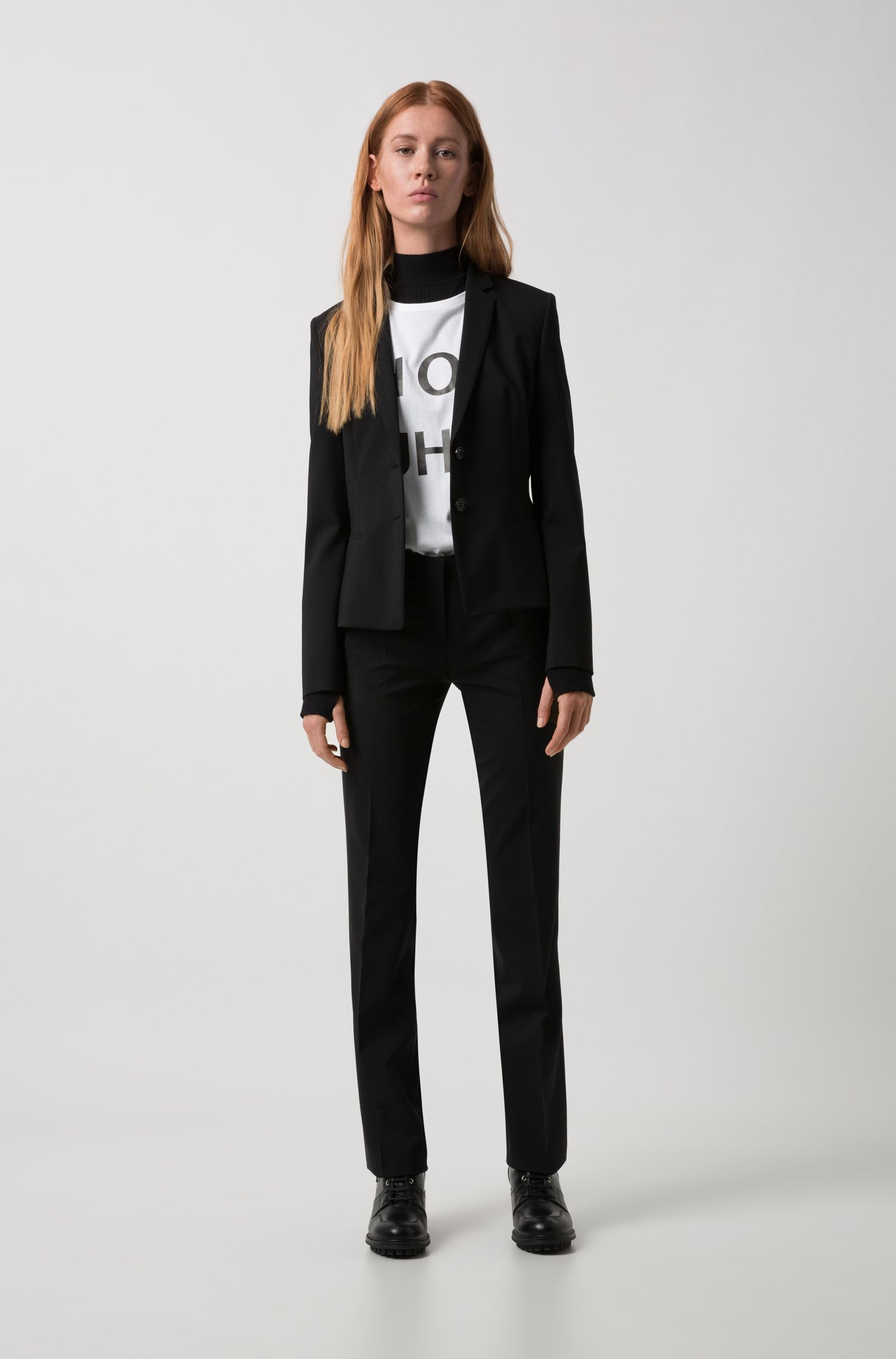 Regular-fit cropped blazer van stretchwol