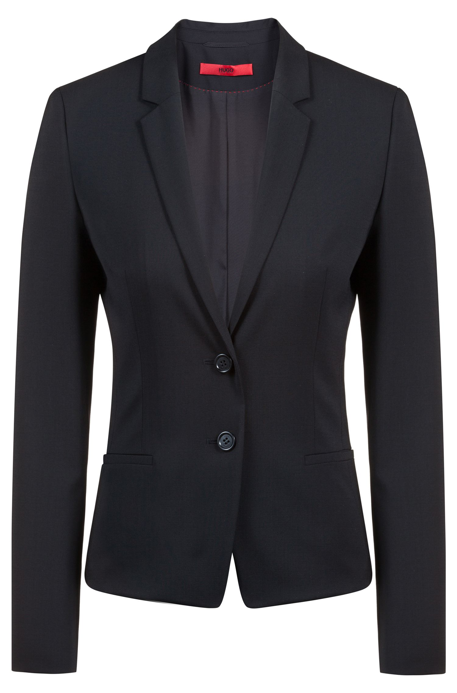 Blazer corto regular fit in lana elasticizzata