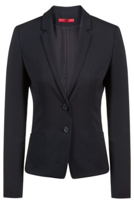 Blazer corto regular fit in lana elasticizzata, Nero