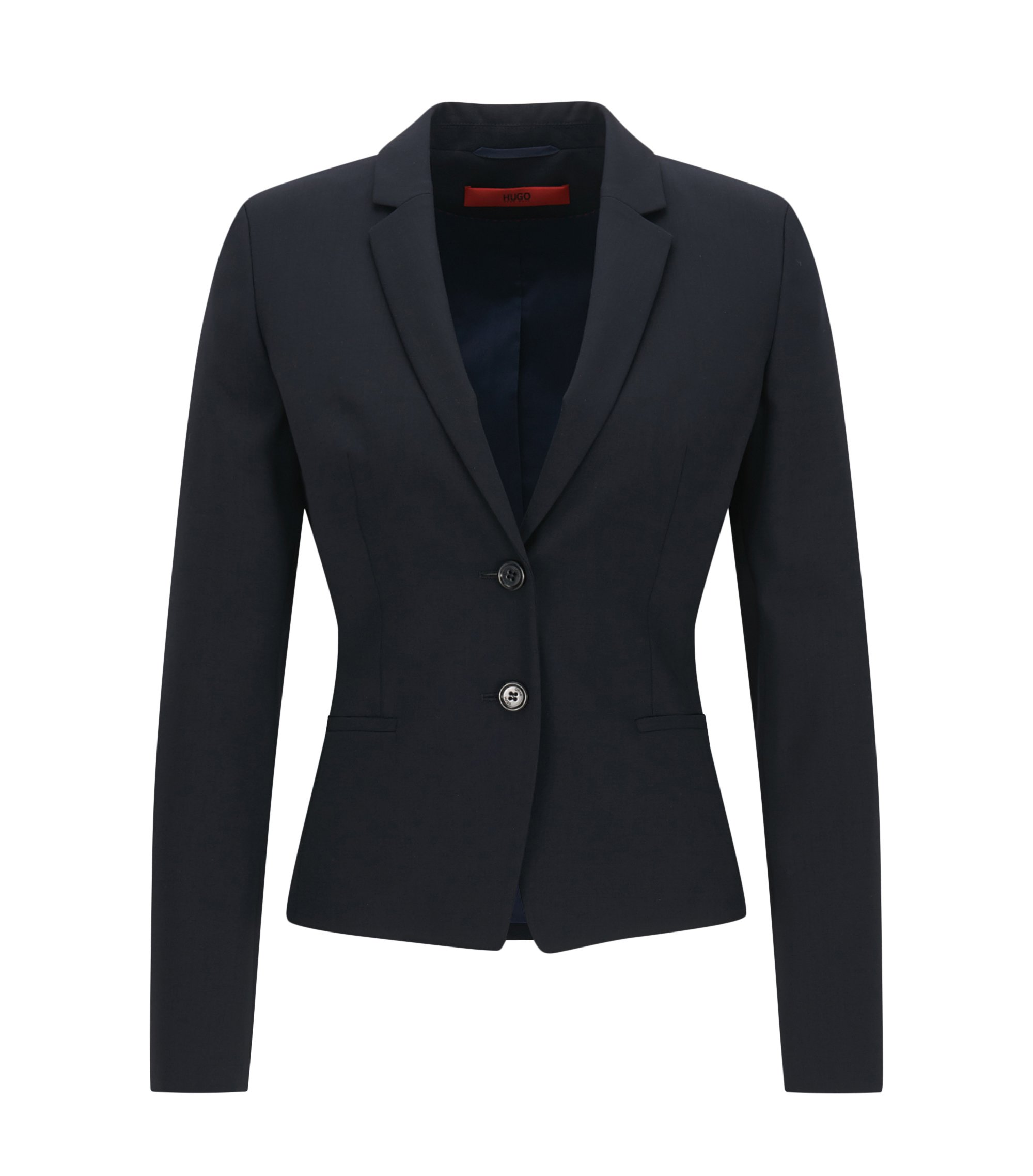 Blazer court Regular Fit, en laine stretch, Bleu foncé