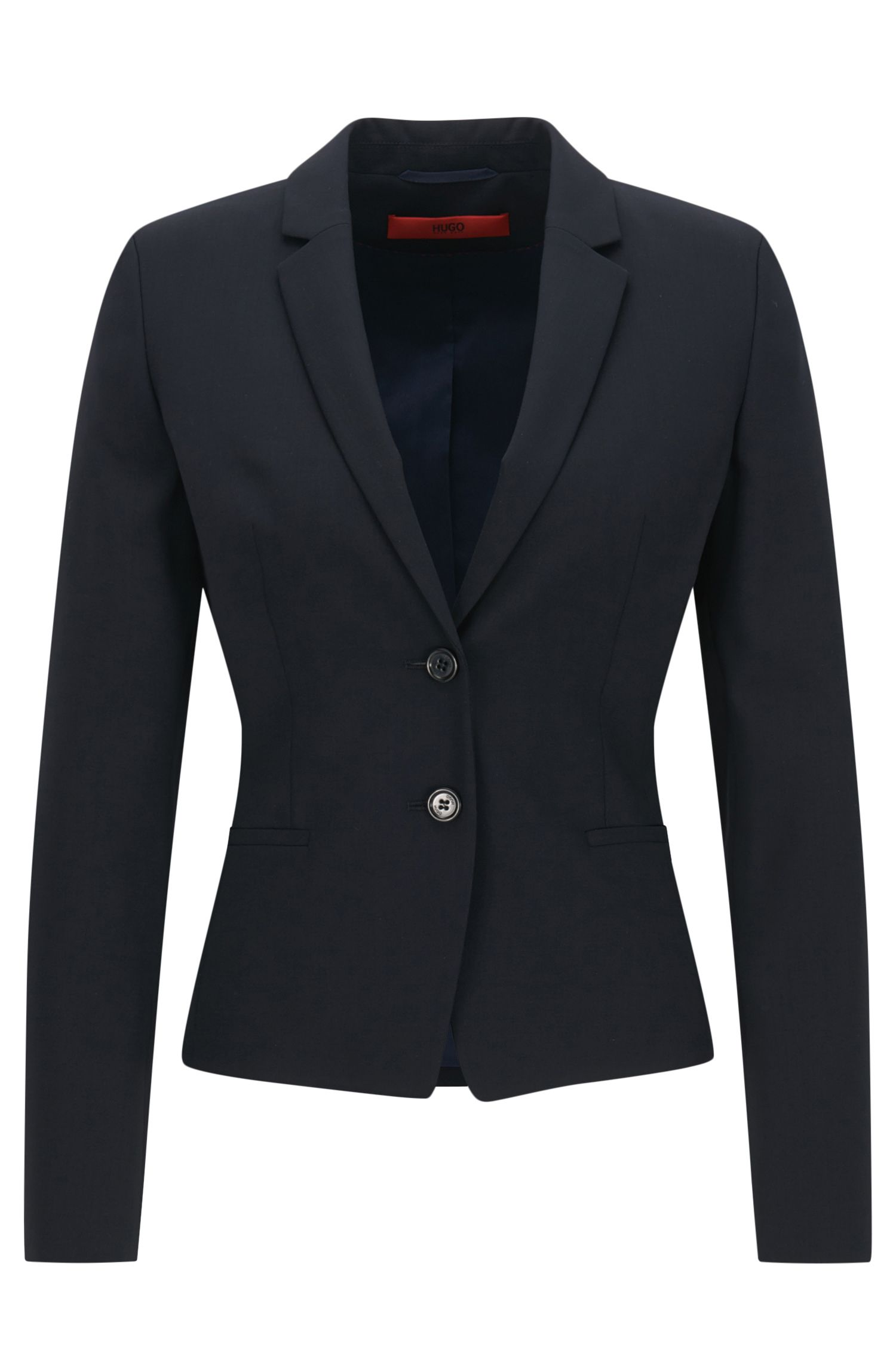 Regular-fit cropped blazer in stretch wool