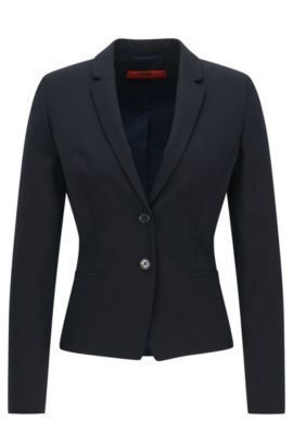 Blazer corto regular fit in lana elasticizzata, Blu scuro