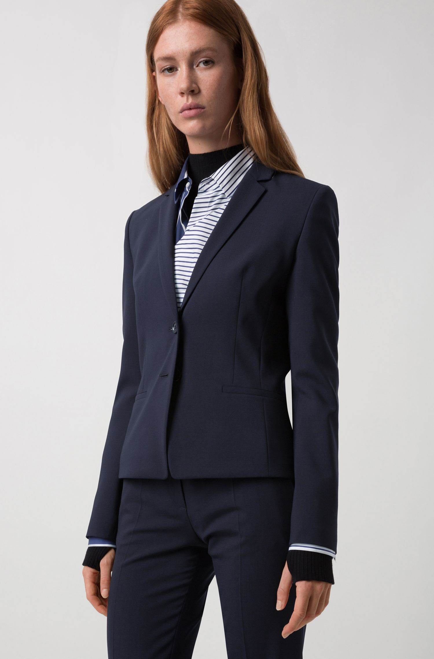 Regular-fit cropped blazer in stretch wool, Dark Blue