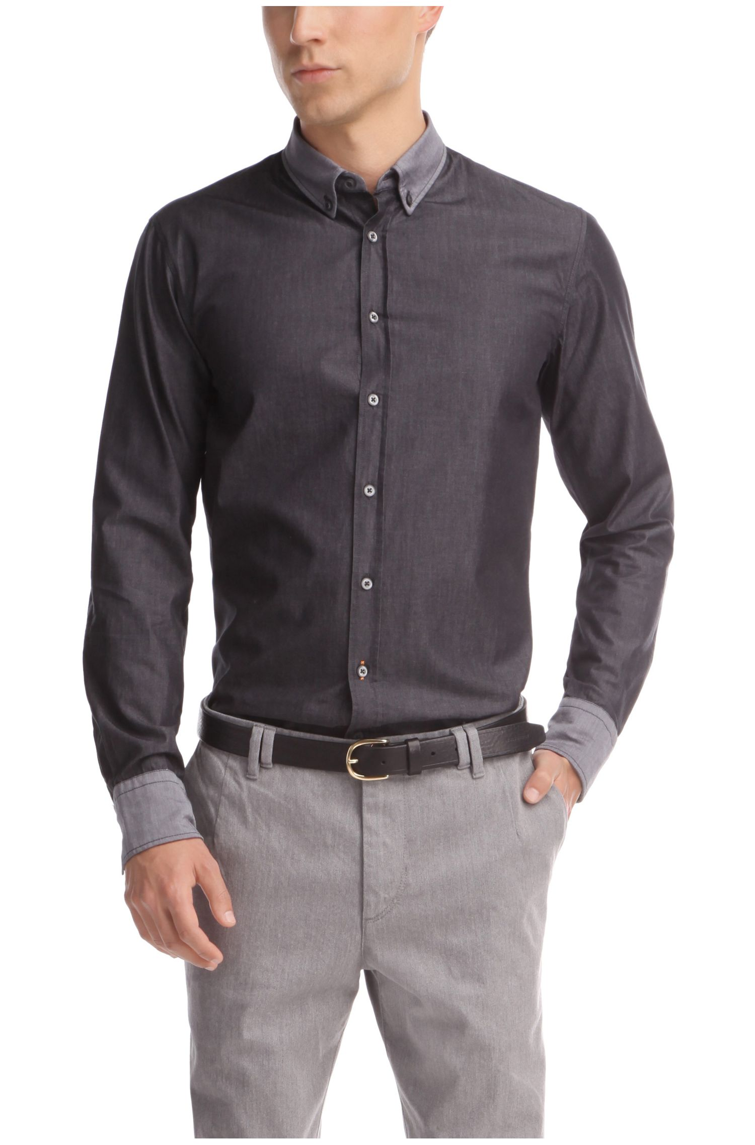 Camicia slim fit con polsini e colletto a rovescio by BOSS Orange