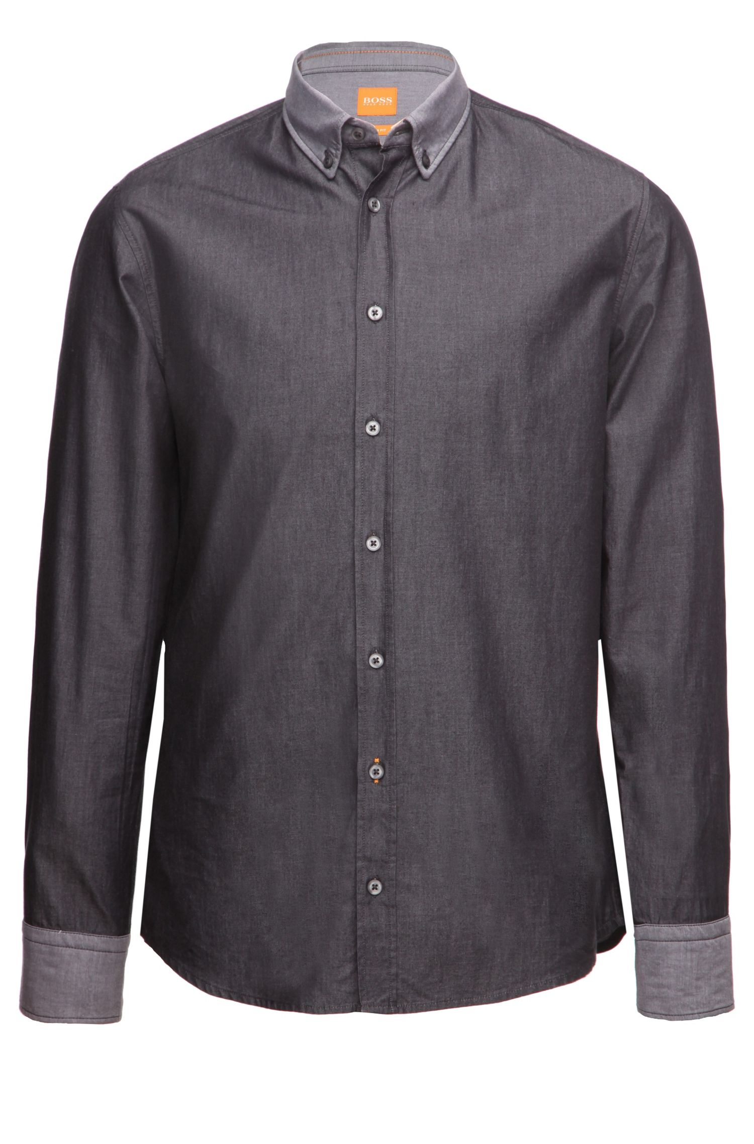 Slim-fit shirt with reverse cuffs and collar by BOSS Orange