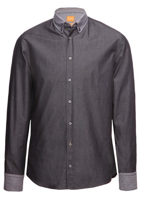 Slim-fit shirt with reverse cuffs and collar by BOSS Orange, Black