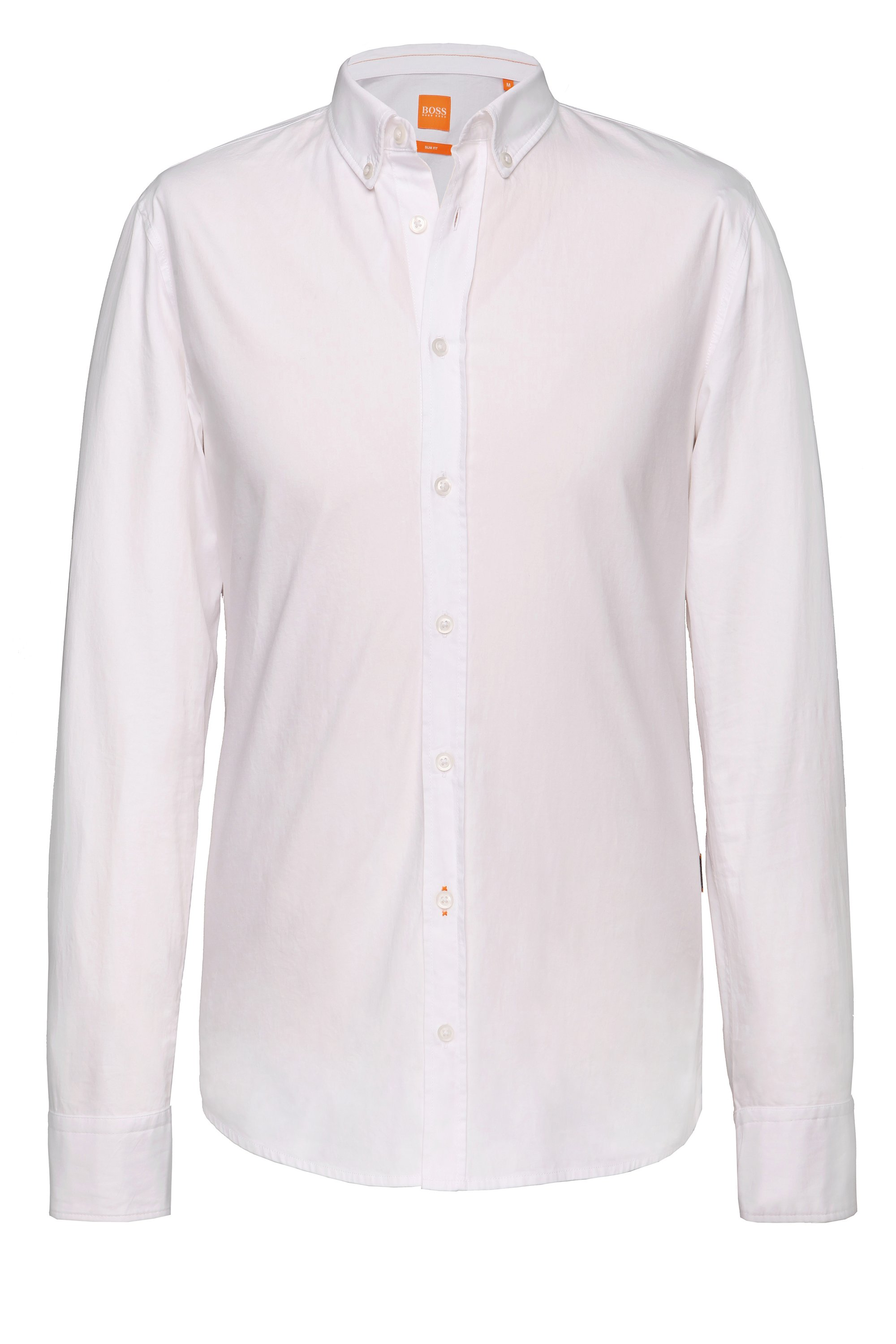 Slim-fit shirt with reverse cuffs and collar by BOSS Orange, White