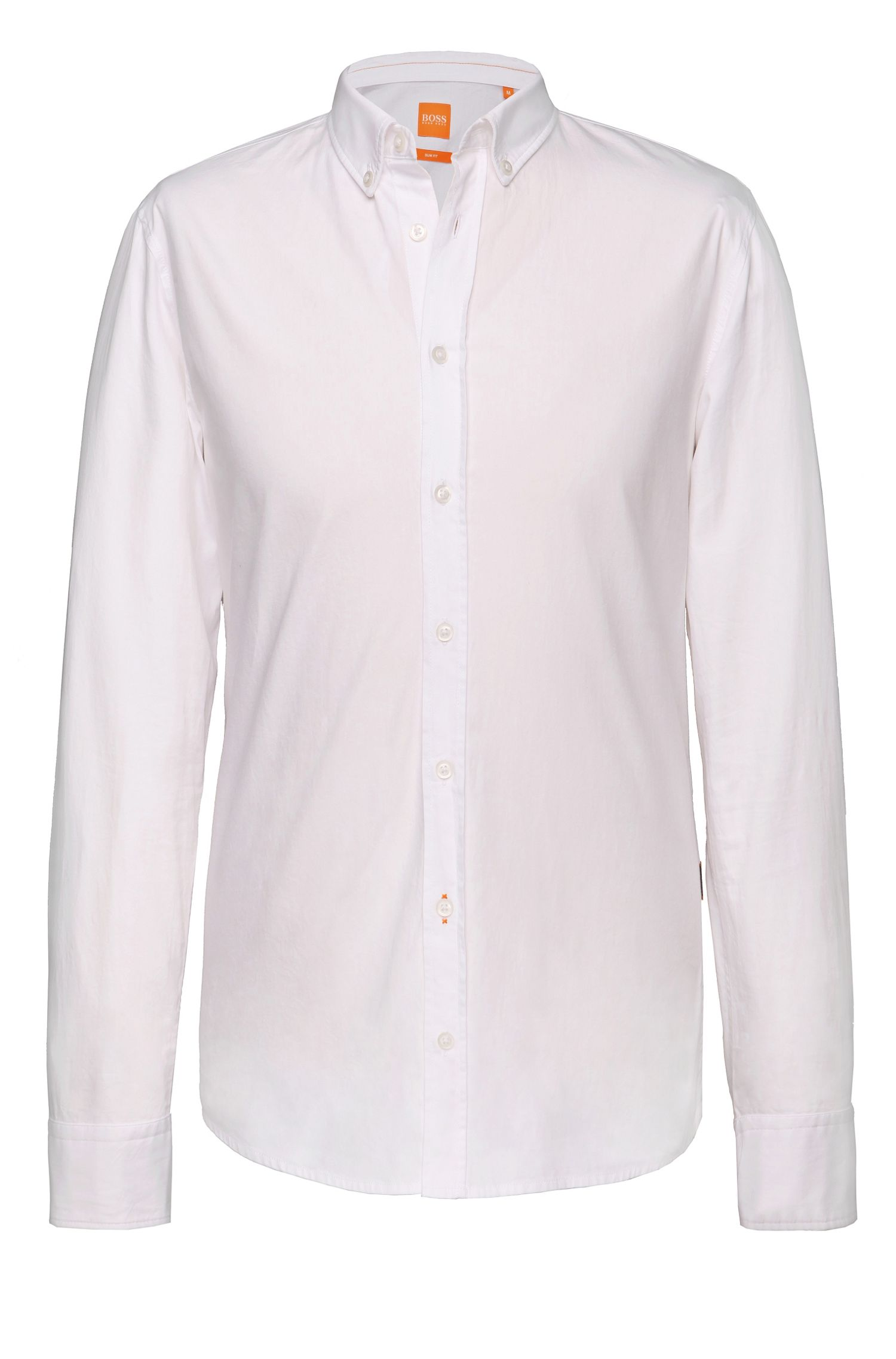 Camicia slim fit con polsini e colletto a rovescio by BOSS Orange, Bianco