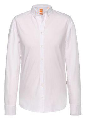 Slim-fit overhemd met contrasterende manchetten en kraag van BOSS Orange, Wit