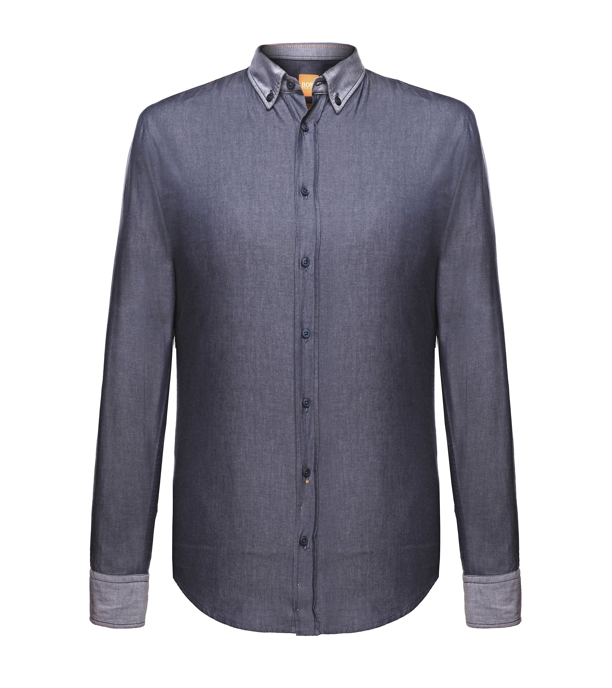 Camicia slim fit con polsini e colletto a rovescio by BOSS Orange, Blu