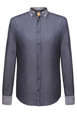 Slim-fit shirt with reverse cuffs and collar by BOSS Orange, Blue