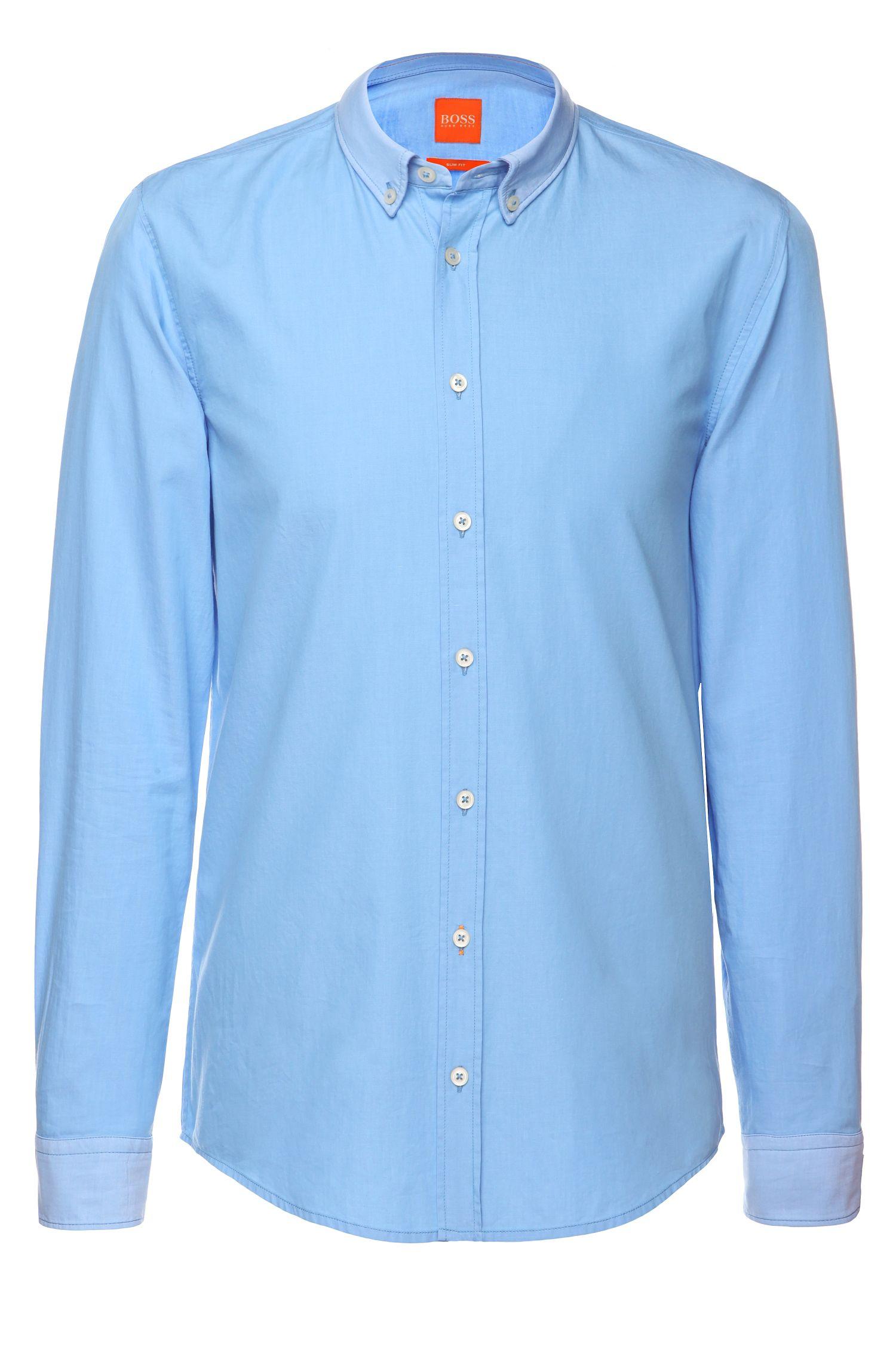 Slim-fit overhemd met contrasterende manchetten en kraag van BOSS Orange, Donkerblauw
