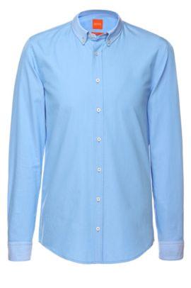 Camisa slim fit con cuello y puños vueltos de BOSS Orange, Azul oscuro