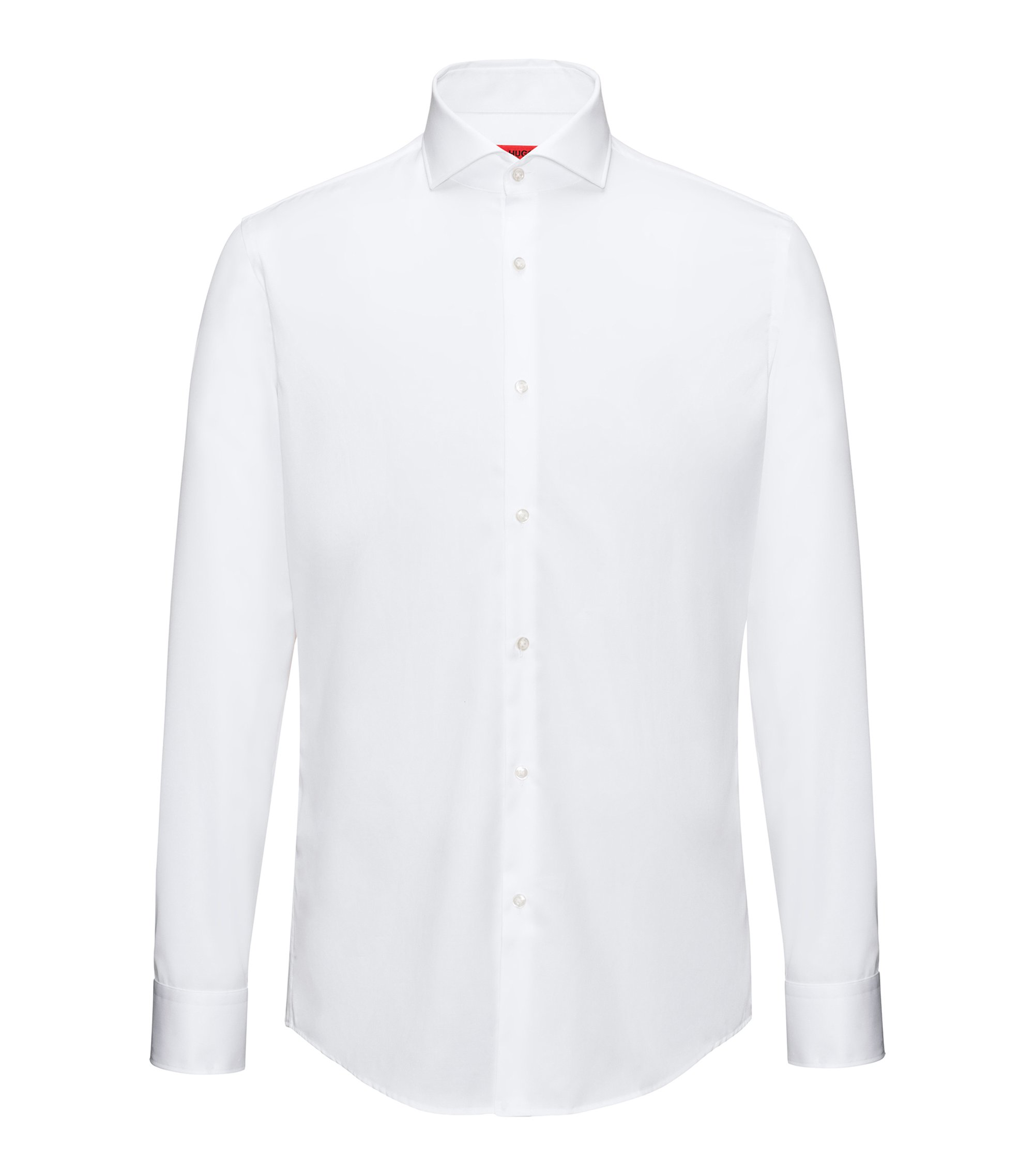 Slim-fit shirt in cotton poplin , White