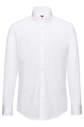Slim-fit shirt in cotton poplin , Open White