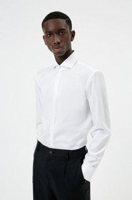 Slim-fit shirt in cotton poplin , White