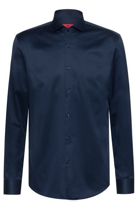 Slim-fit shirt in cotton poplin , Dark Blue