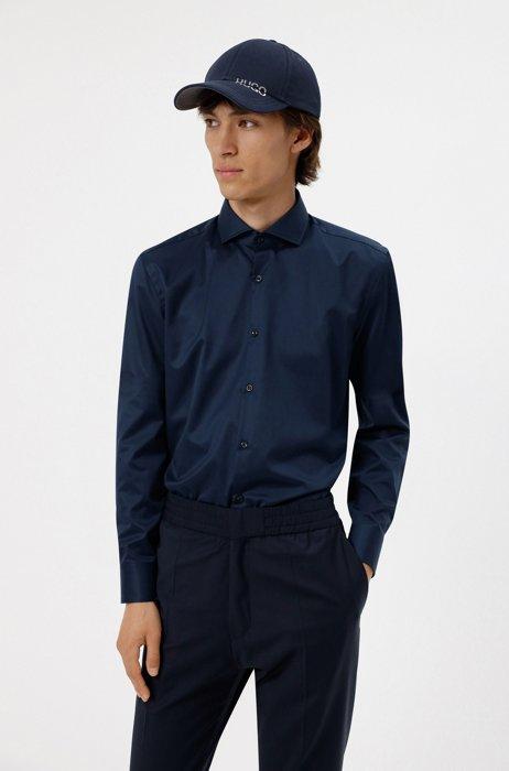 Slim-Fit Hemd aus Baumwoll-Popeline , Dunkelblau