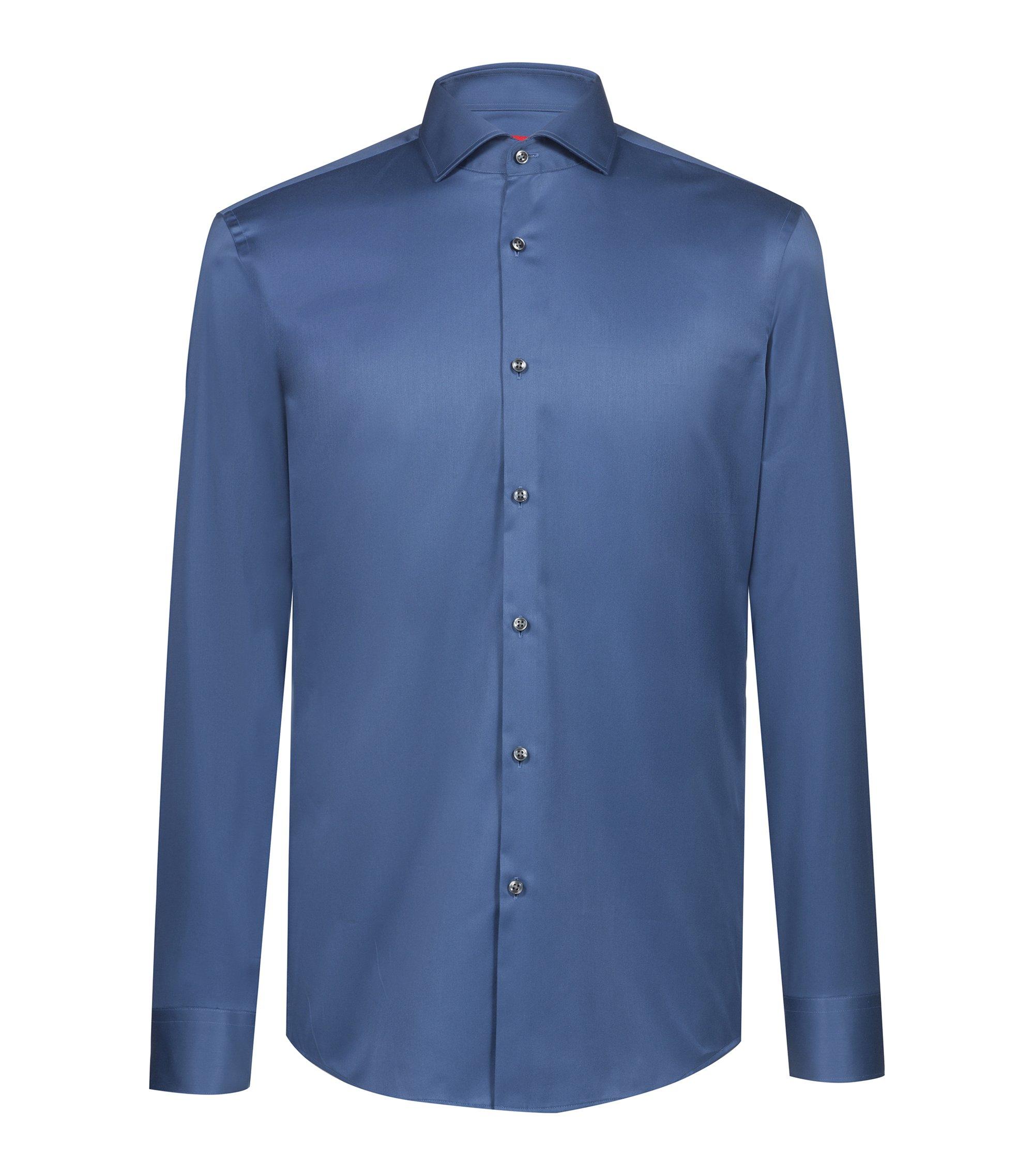 Slim-fit shirt in cotton poplin , Blue