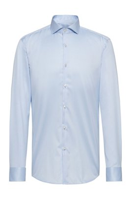 Slim-fit shirt in cotton poplin , Light Blue
