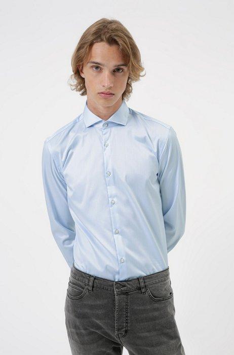 Slim-fit shirt in cotton poplin , Light Blue