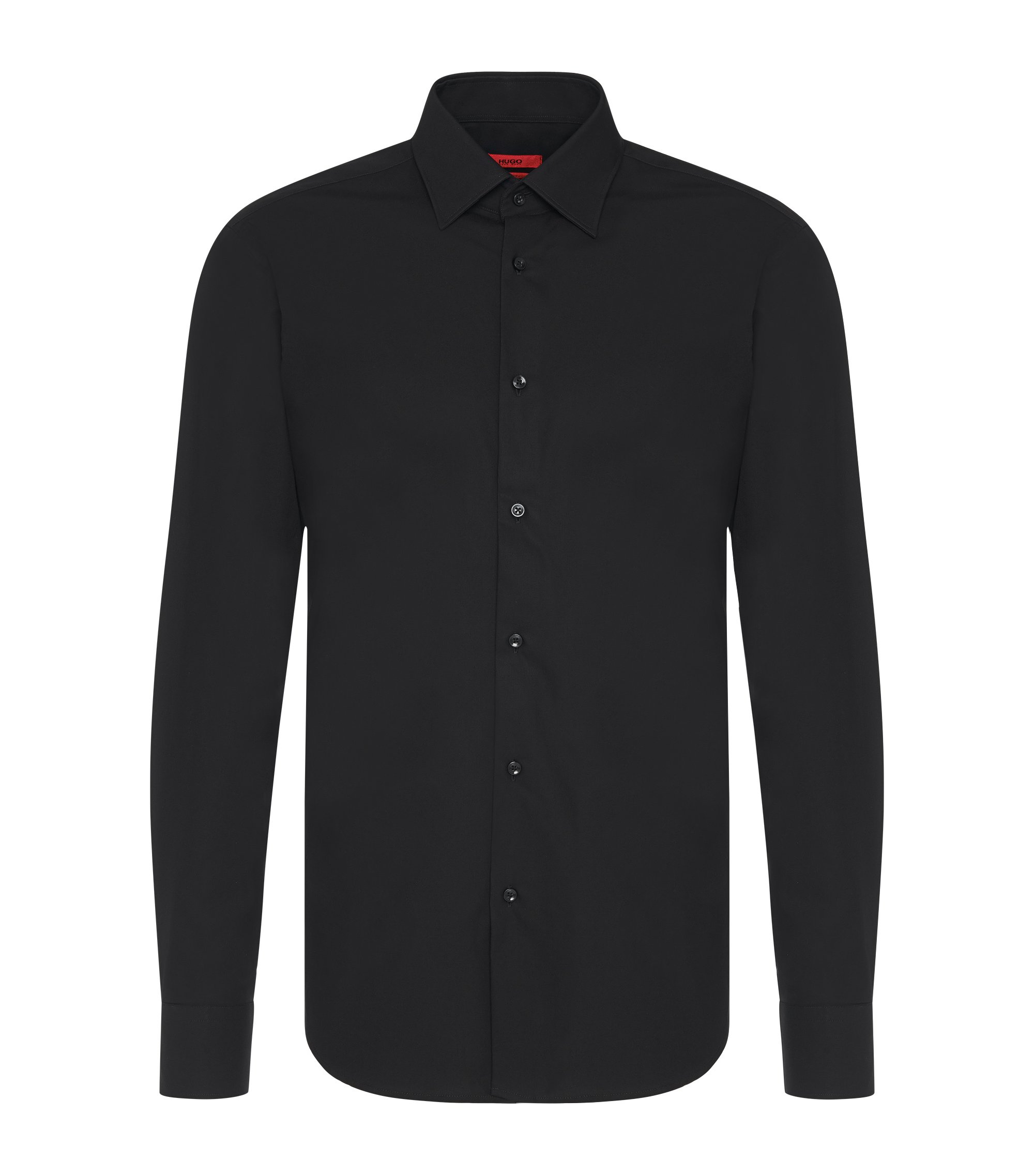 Camisa business regular fit en popelín de algodón, Negro