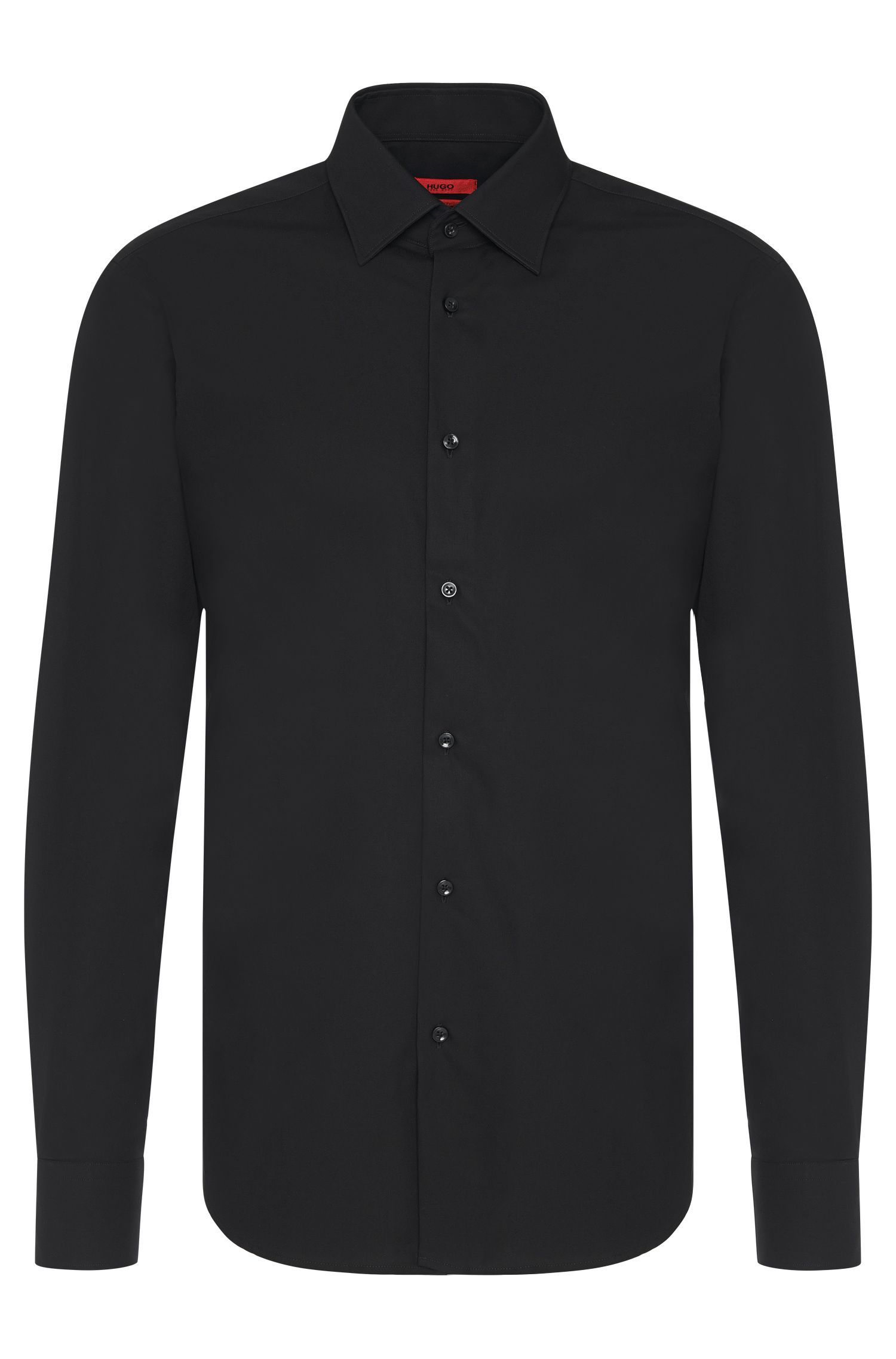 Regular-fit business shirt in cotton poplin, Black