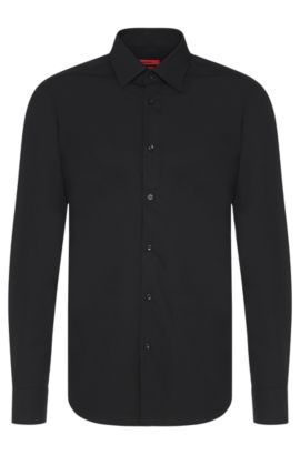 Chemise business Regular Fit en popeline de coton, Noir