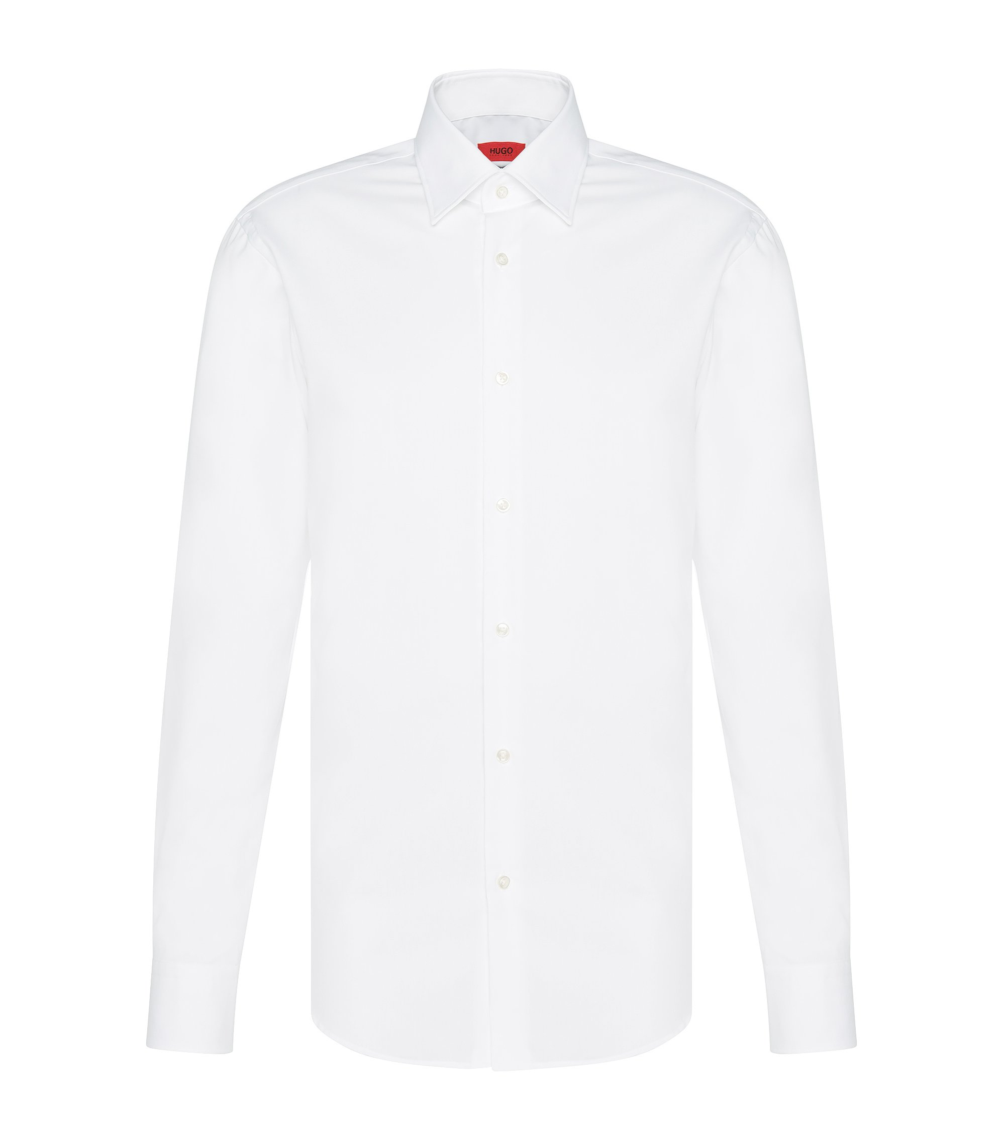 Camisa business regular fit en popelín de algodón, Blanco