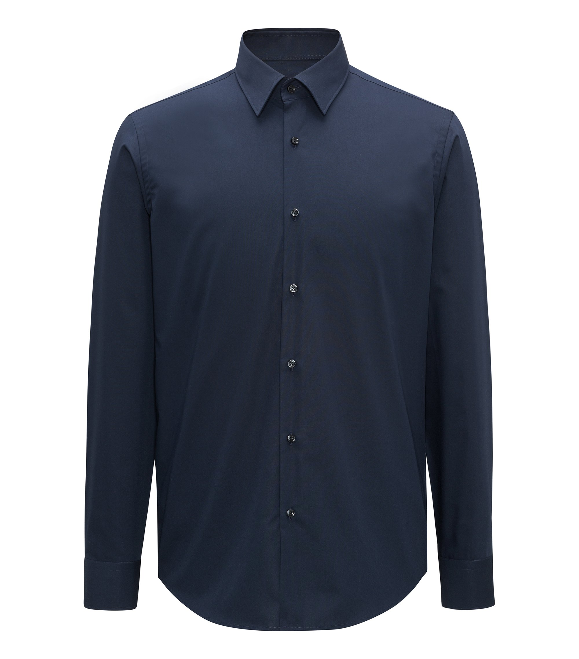 Regular-fit business shirt in cotton poplin, Dark Blue